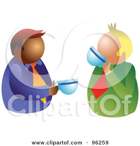 Royalty-Free (RF) Clipart Illustration of a hispanic and caucasian businessman chatting over coffee by Prawny
