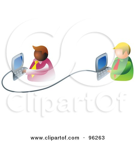 Royalty-Free (RF) Clipart Illustration of Two Businessmen Working On An Office Network by Prawny
