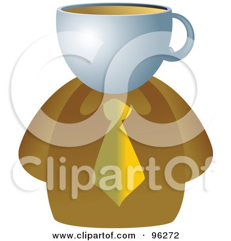 Royalty-Free (RF) Clipart Illustration of a Businessman With A Coffee Face by Prawny