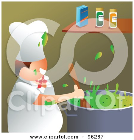 Royalty-Free (RF) Clipart Illustration of a Happy Chef Splattering Green Soup In A Kitchen by Prawny