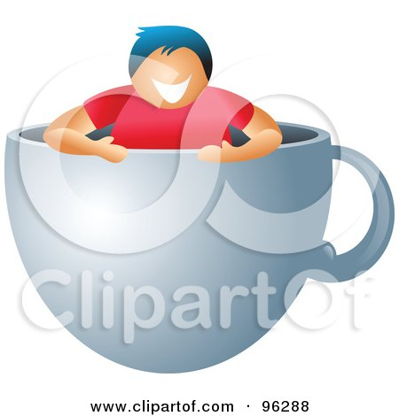 Royalty-Free (RF) Clipart Illustration of a Woman Inside A Giant Coffee Cup by Prawny
