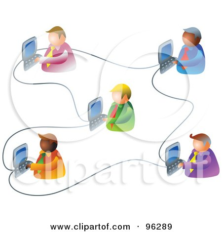 Royalty-Free (RF) Clipart Illustration of Five Businessmen Working On An Office Network by Prawny