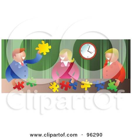 Royalty-Free (RF) Clipart Illustration of a Happy Business Team Assembling Puzzle Solutions At A Table by Prawny