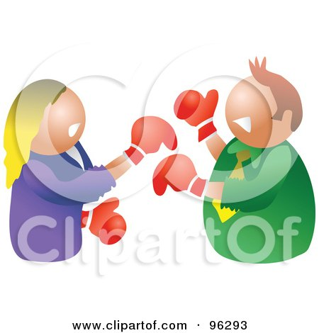Royalty-Free (RF) Clipart Illustration of a Man And Woman Throwing Punches At Each Other During A Battle Of The Sexes by Prawny