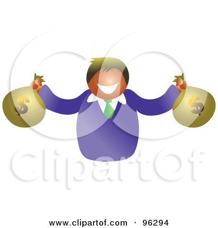 Royalty-Free (RF) Clipart Illustration of a Happy Man Holding Two Bags Of American Money by Prawny