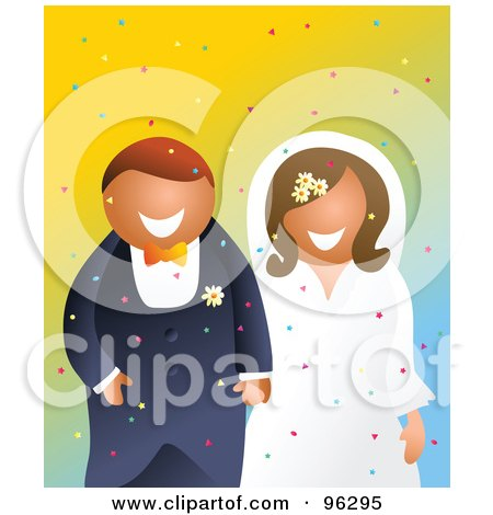 Royalty-Free (RF) Clipart Illustration of a Smiling Bride And Groom Holding Hands And Walking Through Confetti by Prawny