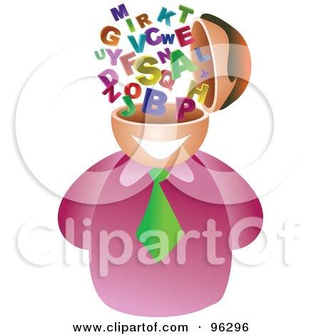 Royalty-Free (RF) Clipart Illustration of a Businessman With An Alphabet Brain by Prawny
