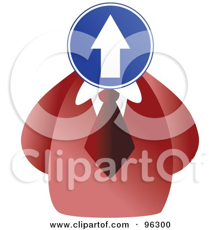 Royalty-Free (RF) Clipart Illustration of a Businessman With A Up Arrow Sign Face by Prawny