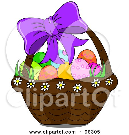 Purple Bow On A Basket Of Easter Eggs Posters, Art Prints