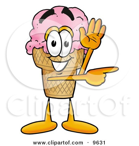 Clipart Picture of an Ice Cream Cone Mascot Cartoon Character Waving and Pointing by Toons4Biz