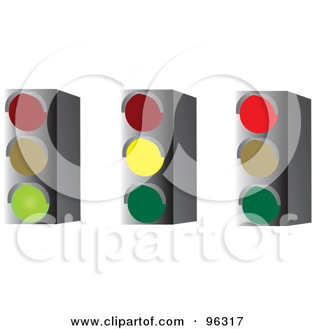 Royalty-Free (RF) Clipart Illustration of a Digital Collage Of Green, Yellow And Red Stop Lights by Rasmussen Images