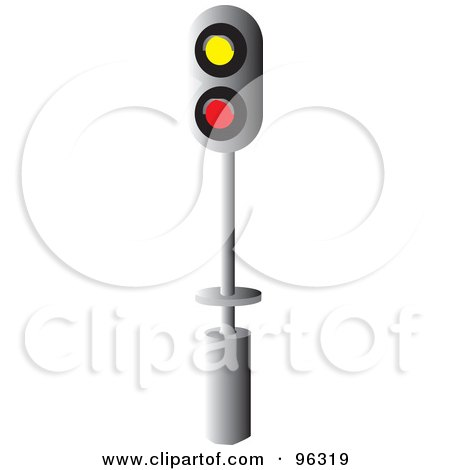 Royalty-Free (RF) Clipart Illustration of a Crossing Signal With Yellow And Red Lights by Rasmussen Images