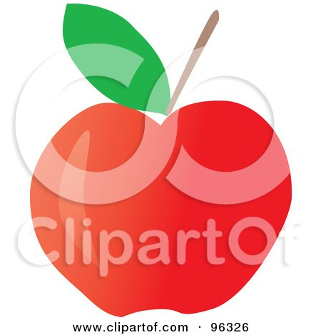 Royalty-Free (RF) Clipart Illustration of a Green Leaf And Stem On A Red Apple by Rasmussen Images