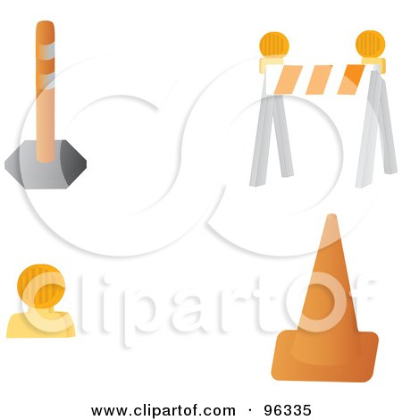 Royalty-Free (RF) Clipart Illustration of a Digital Collage Of Construction Cones, Lights And Barriers by Rasmussen Images