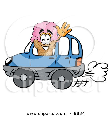 Ice Cream Cone Mascot Cartoon Character Driving a Blue Car and Waving Posters, Art Prints