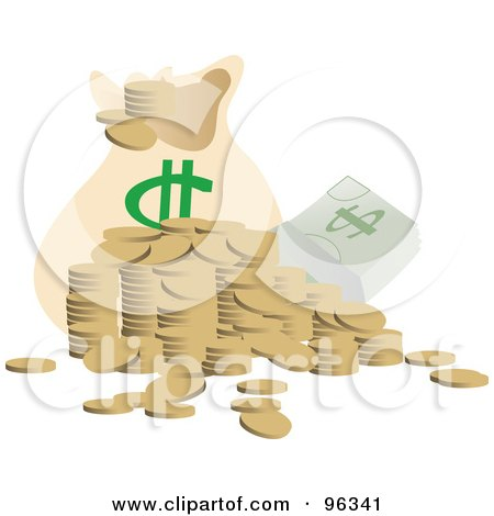Royalty-Free (RF) Clipart Illustration of a Messy Stack Of Coins And Casy By A Money Bag by Rasmussen Images