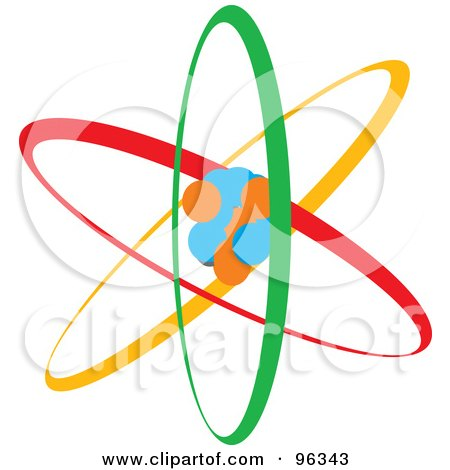 Royalty-Free (RF) Clipart Illustration of a Colorful Atom by Rasmussen Images