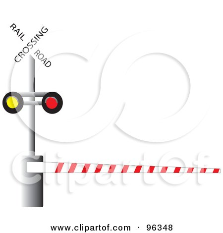 Royalty-Free (RF) Clipart Illustration of a Railroad Crossing Bar Down by Rasmussen Images