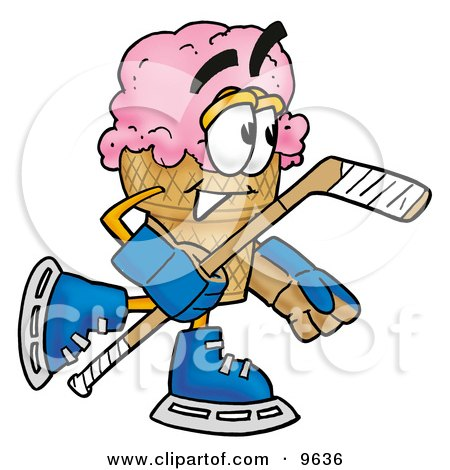 Clipart Picture of an Ice Cream Cone Mascot Cartoon Character Playing Ice Hockey by Toons4Biz