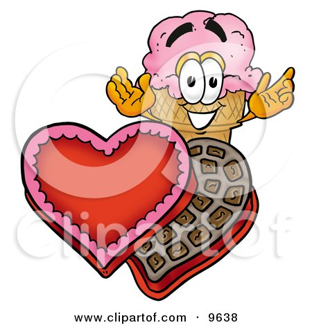 Clipart Picture of an Ice Cream Cone Mascot Cartoon Character With an Open Box of Valentines Day Chocolate Candies by Toons4Biz