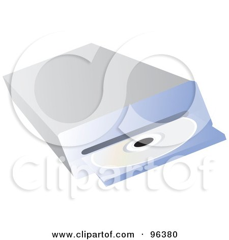 Royalty-Free (RF) Clipart Illustration of a Disc Drive Ejecting A CD by Rasmussen Images