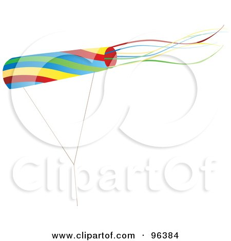 Royalty-Free (RF) Clipart Illustration of a Colorful Kite Flying In The Wind - 3 by Rasmussen Images