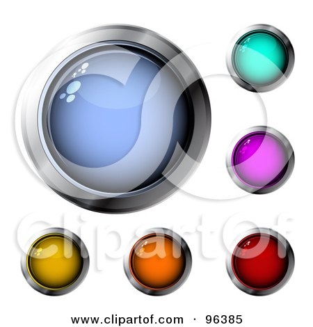 Royalty-Free (RF) Clipart Illustration of a Digital Collage Of Six Colorful, Chrome Rimmed Design App Icon Buttons by MilsiArt