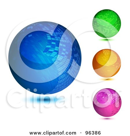 Royalty-Free (RF) Clipart Illustration of a Digital Collage Of Three Colorful, Mosaic Orb Design App Icon Buttons by MilsiArt
