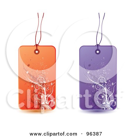 Royalty-Free (RF) Clipart Illustration of a Digital Collage Of Orange And Purple Floral Grunge Retail Tags by MilsiArt