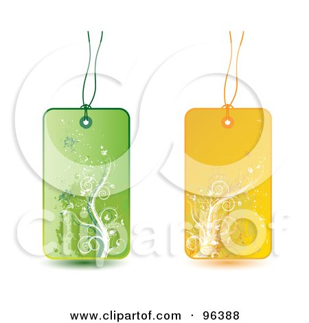 Royalty-Free (RF) Clipart Illustration of a Digital Collage Of Green And Yellow Floral Grunge Retail Tags by MilsiArt