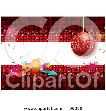 Royalty-Free (RF) Clipart Illustration of a Red Disco Ball Background With A White Text Bar, Arrows And Splatters by MilsiArt