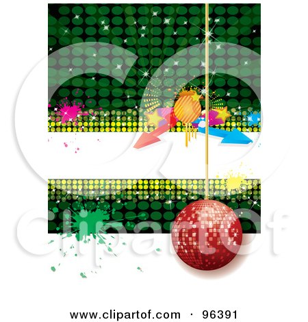 Royalty-Free (RF) Clipart Illustration of a Red Disco Ball Hanging Over Green And White With A White Text Bar, Arrows And Splatters by MilsiArt