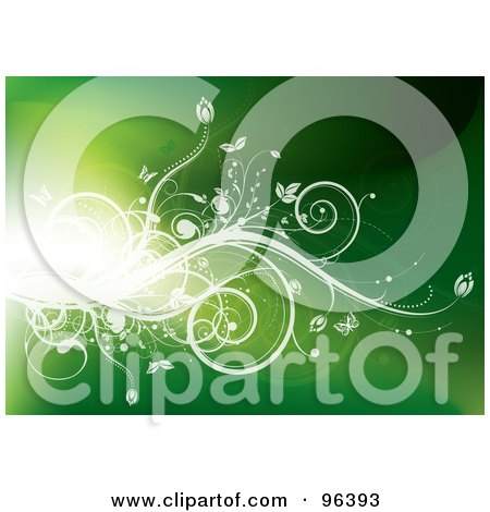 Royalty-Free (RF) Clipart Illustration of a Background Of A Bright Flare Of Light With White Vines And Butterflies Over Green by MilsiArt