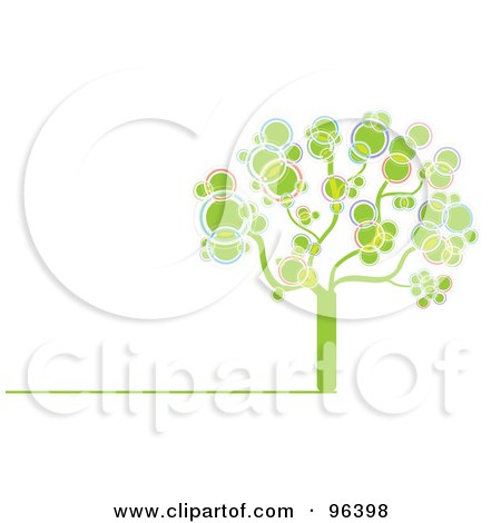 Royalty-Free (RF) Clipart Illustration of a Tree Made Of Pink, Green, Purple, Yellow And Blue Bubbles Or Circles by MilsiArt