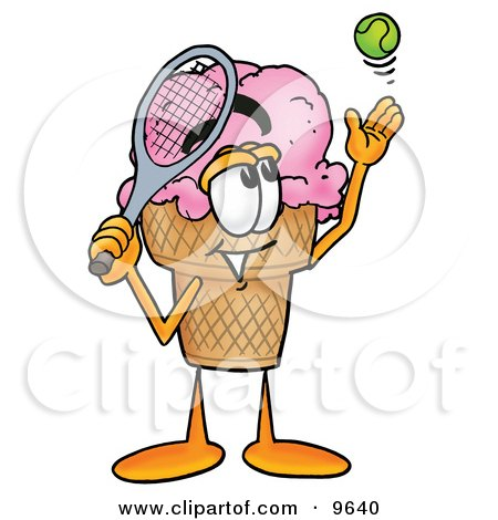 Clipart Picture of an Ice Cream Cone Mascot Cartoon Character Preparing to Hit a Tennis Ball by Toons4Biz