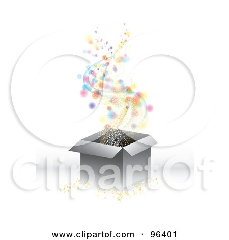 Royalty-Free (RF) Clipart Illustration of Magical Colorful Orbs, Confetti And Stars Floating Out Of A Gift Box by MilsiArt