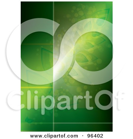 Royalty-Free (RF) Clipart Illustration of a Glowing Green Botanical Background With Copyspace For Text by MilsiArt