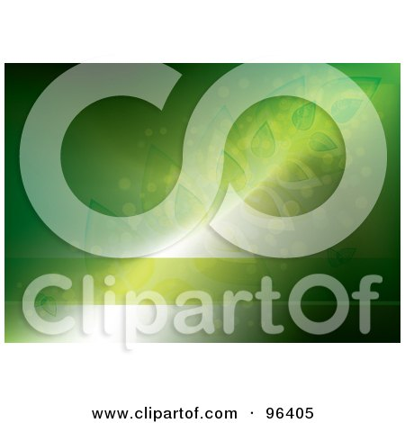 Royalty-Free (RF) Clipart Illustration of a Horizontal Green Glowing Background With Leaves And A Copyspace Text Bar by MilsiArt