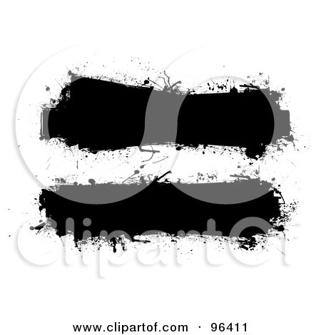 Royalty-Free (RF) Clipart Illustration of a Digital Collage Of Two Grungy Black Ink Splatter Text Bars by michaeltravers