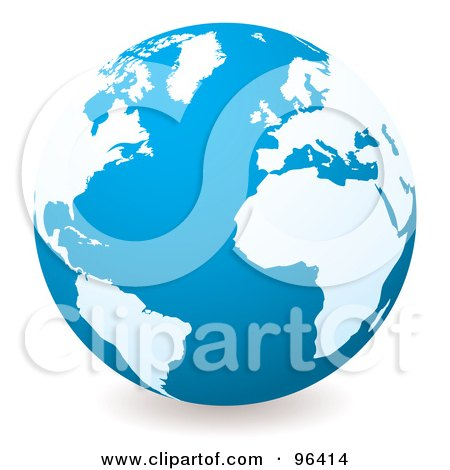 Royalty-Free (RF) Clipart Illustration of a Blue Globe With White Continents, Centered On The Atlantic by michaeltravers