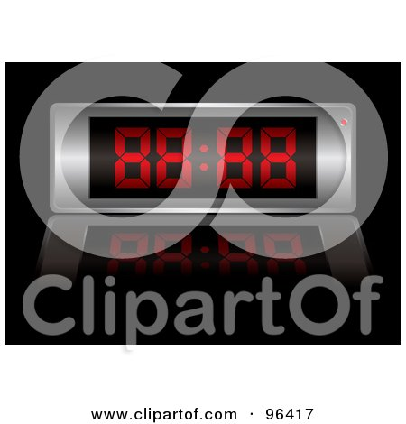 Royalty-Free (RF) Clipart Illustration of a Silver Digital Alarm Clock With Red Digits by michaeltravers