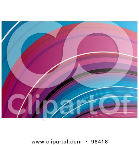 Royalty-Free (RF) Clipart Illustration of a Background Of A Blue And Pink Curving Wave by michaeltravers