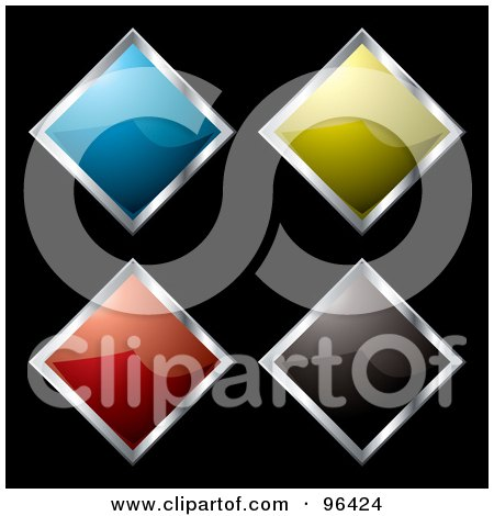 Royalty-Free (RF) Clipart Illustration of a Digital Collage Of Four Shiny Diamond Shaped App Icon Buttons by michaeltravers
