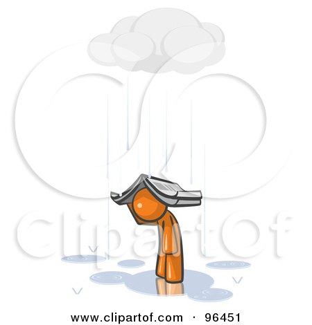 Royalty-Free (RF) Clipart Illustration of a Lonely And Depressed Orange Man Holing A Book Over His Head To Shelter Himself From The Pouring Rain by Leo Blanchette