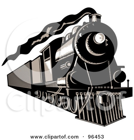 Royalty-Free (RF) Clipart Illustration of a Black And White Steam Train Moving Forward by patrimonio