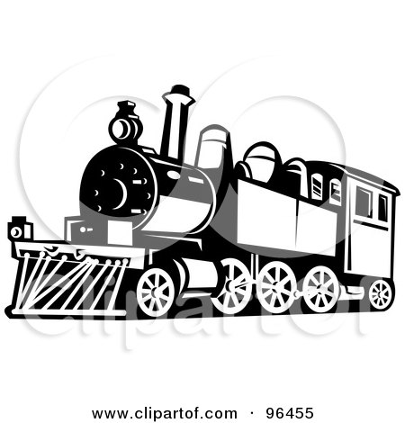 Royalty-Free (RF) Clipart Illustration of a Black And White Steam Train From A Front Side Angle by patrimonio