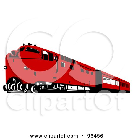 Royalty-Free (RF) Clipart Illustration of a Red Diesel Train by patrimonio