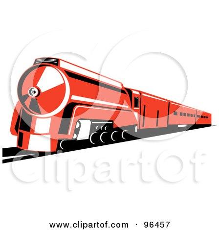 Royalty-Free (RF) Clipart Illustration of a Reddish Orange Steam Train by patrimonio