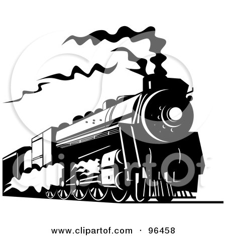 Royalty-Free (RF) Clipart Illustration of a Black And White Steam Train Traveling Along The Railroad by patrimonio
