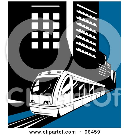 Royalty-Free (RF) Clipart Illustration of a Light Rail Train Moving Along City Buildings by patrimonio